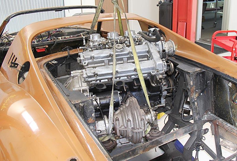 Ferrari Dino 246 engine removal, Dino restoration, Jon Gunderson