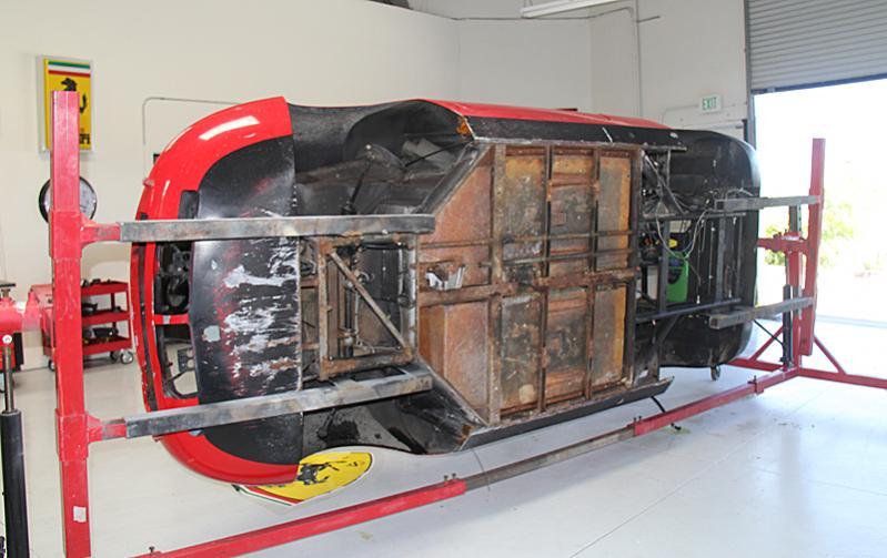 Ferrari Dino on a rotisserie, Dino restoration, Jon Gunderson