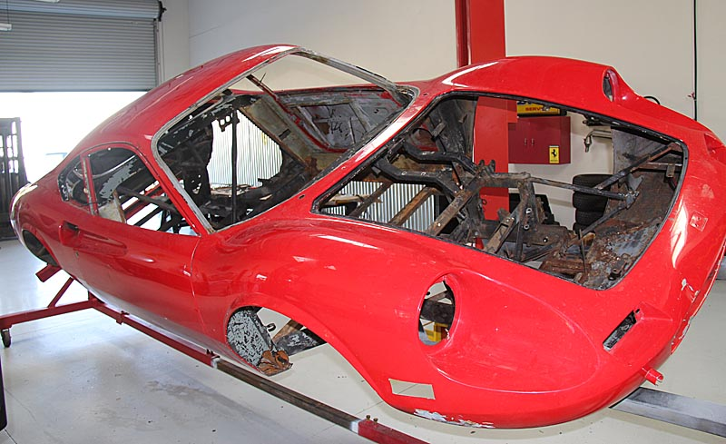 Dino 246 GT Completely stripped, Dino restoration.