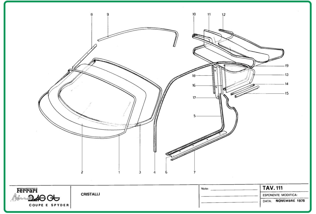 Tav 111 Glasses, Dino Restoration, Ferrari Dino
