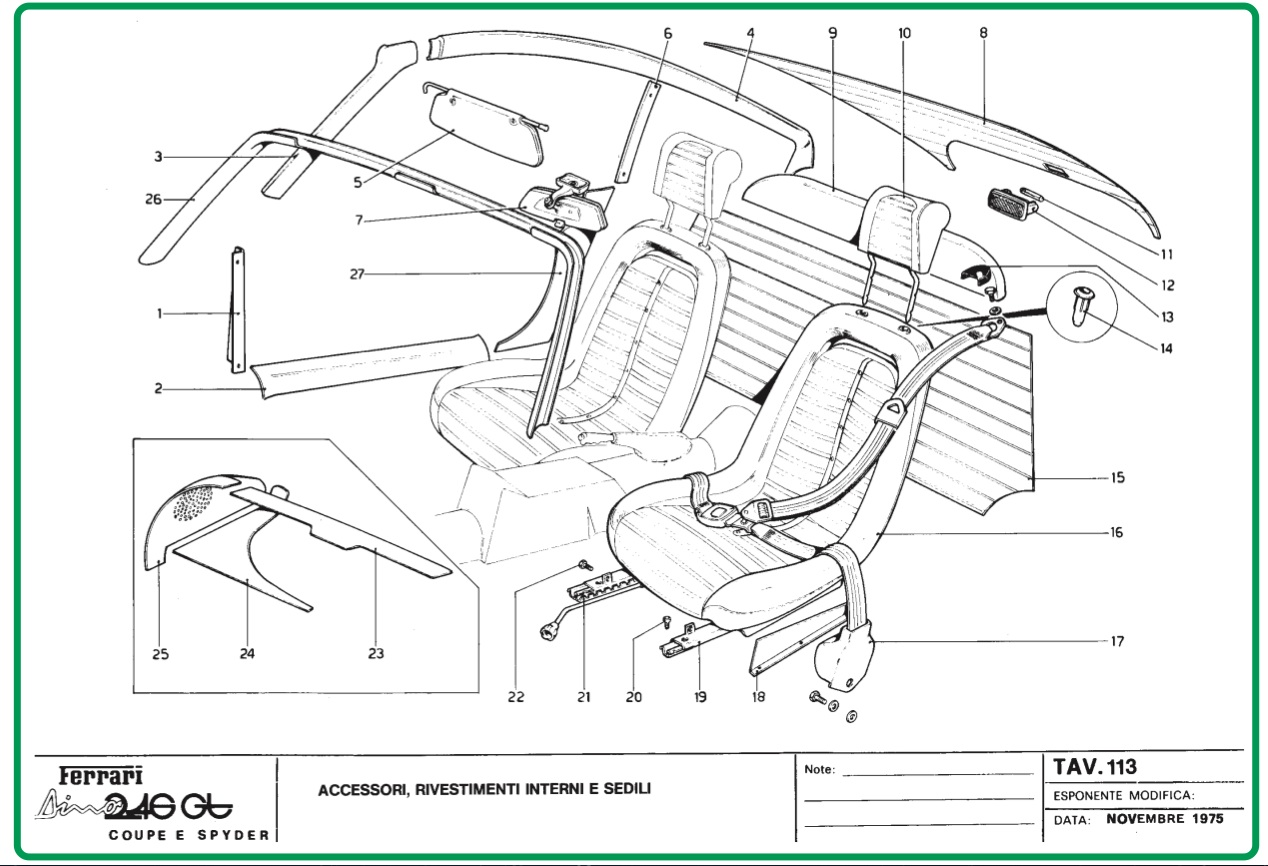 TAV 113 Interior Trim, Accessories and Seats, Dino Restoration