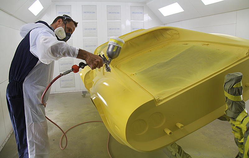 Base coat on Ferrari Dino 246, Dino Restoration, Jon Gunderson