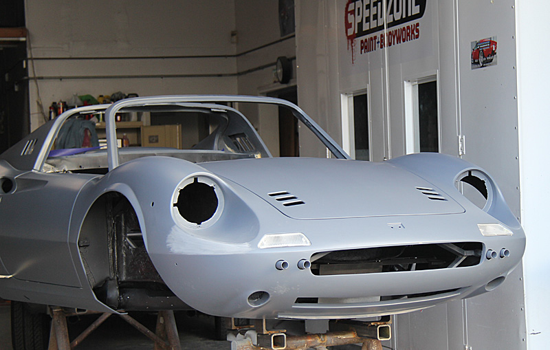 Ferrari Dino at Speedzone for paint, Dino Restoration, Jon Gunderson