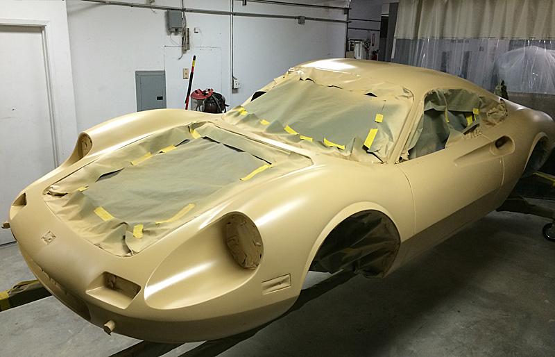 Dino 246 GT in primer, Jon Gunderson, Dino Restoration