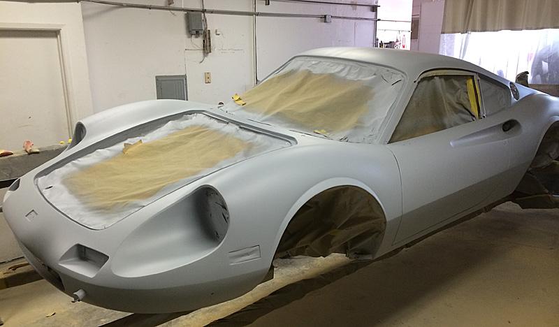 Ferrari Dino ready for paint, Dino Restoration, Jon Gunderson